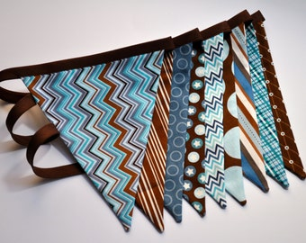 Boy's brown, teal blue and aqua fabric pennant banner bunting, boys room, playroom, birthday party decor, photo prop, cake smash