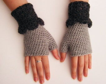 Grey Crochet Fingerless Mittens