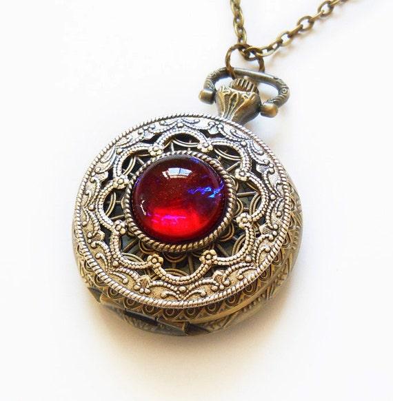 Pocket Watch Necklace Dragon Breath Fire Opal Pocket Watch
