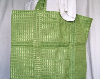 """Avocado and Gold TOTE BAG Vintage fabric Library Grocery Carryall Overnight Craft Knitting 19"""" x 15"""""""