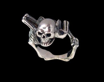 Solid 92.5% Sterling Silver Mr Bones Skeleton Ring - Free Re-Size/Free Shipping Worldwide