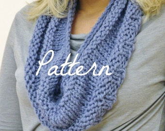 Neck Warmer Knitting PATTERN Textured Loop Scarf Cowl