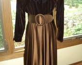 Vintage Brown Velvet and Brown Silk Satin T-Length  Dress, Elegant  Understated Formal Evening Dress with Wide Satin Belt in Mint Condition