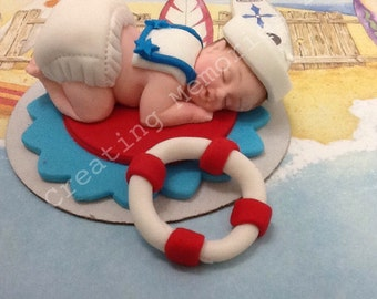 FONDANT Sailor Baby Topper - Edible Sailor Baby - great for cakes for baby showers, birthdays and much more.