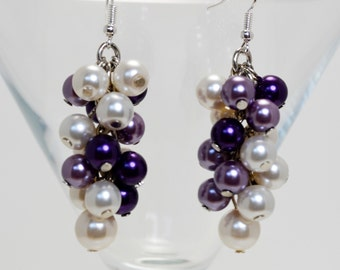 Ivory, Purple and Amethyst Cluster Earrings, Ivory Chunky Earrings, Purple Earrings, Bridal Earrings, Cluster Pearl Earrings, Pearl Jewelry