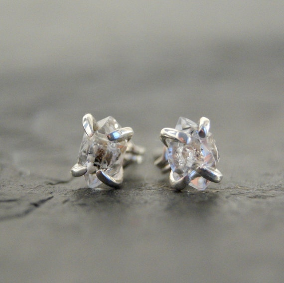 RESERVED...Tiny Herkimer Diamond Prong Studs in Polished Sterling Silver