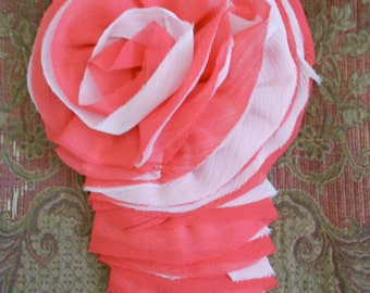 Coral and Cream Ruffle Rosette Appliques
