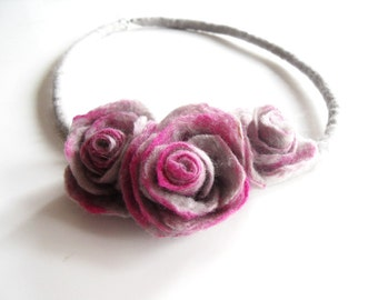 Fiber Felt Necklace Flower Necklace Gray fushia