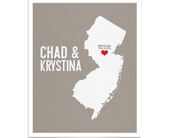 New Jersey Wedding Gift - Personalized State and Heart - Custom Wedding Date - Location City and State Modern Art Print - 8x10 : New Jersey