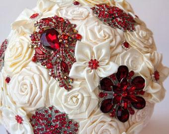Brooch Bouquet. Ivory RED Fabric Bouquet, Unique Wedding Bridal Bouquet