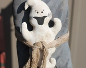 Primitive Ghost with Tombstone, Prim Halloween Decor, Door hanger, Happy Haunting Ghost, Spooky Ghost with Headstone, OFG Team, FFCOFG