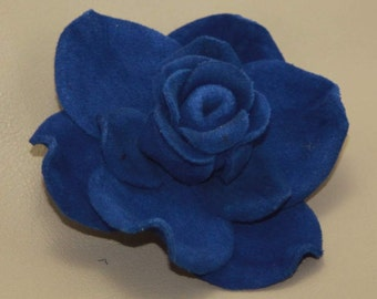 Leather Rose Brooch in royal blue leather.