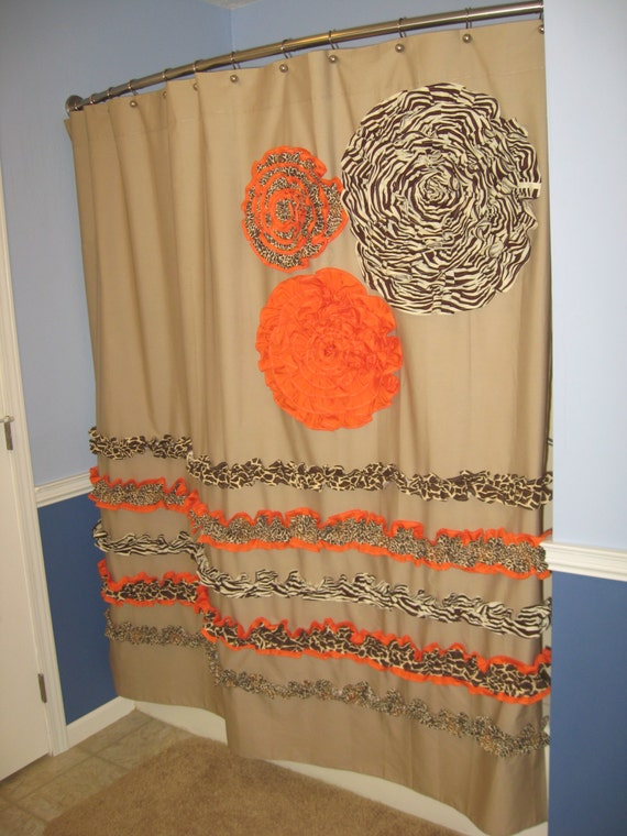 Shower Curtain Custom Made Designer Fabric Ruffles Flowers Cheetah ...