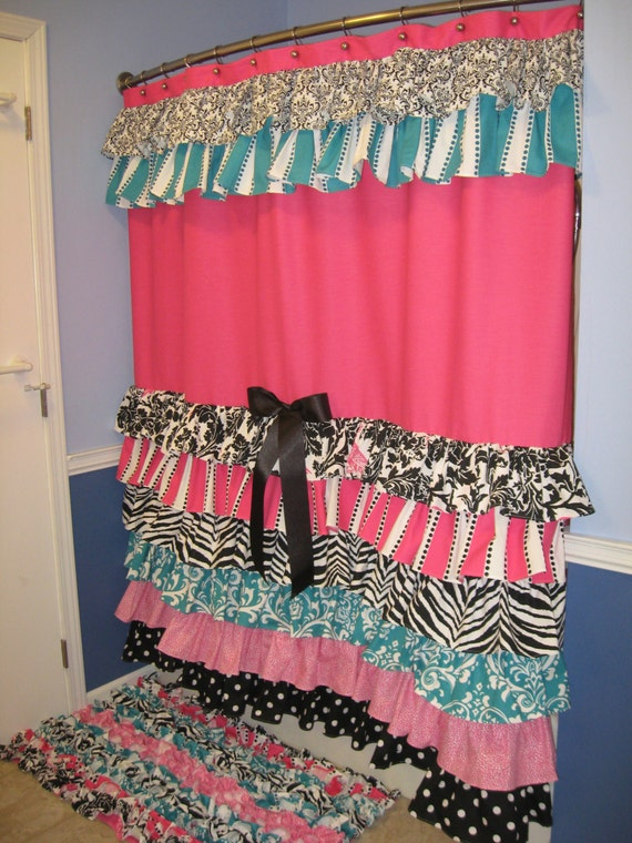Red And Turquoise Shower Curtain. Items similar to Shower Curtain Cascading Ruffles Custom Designer Fabric  Black Pink Teal Aqua Turquoise White Damask Animal Print Zebra Cheetah Stripes Dots