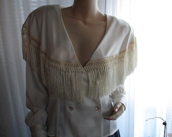 1980's AMEN WARDY Double Breast Fringe Collar Blouse