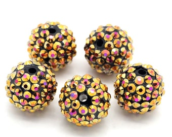 Black and Gold Disco Ball Beads - Orange And Yellow Rhinestones - 18mm - 5pcs - Ships IMMEDIATELY from California - B863