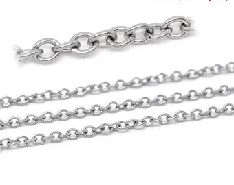 5M Stainless Steel Chain - Opened Cable Links - 3x2.5mm - 16' -  Ships IMMEDIATELY  from California - CH220