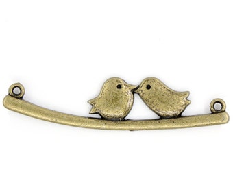 Two Birds Connectors Charms - Antique Bronze - 53x13mm - 5pcs - Ships IMMEDIATELY from California - BC594