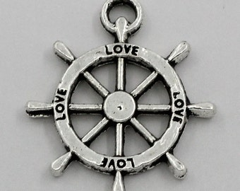 100 Rudder Charms - WHOLESALE - LOVE - 23x20mm - Ships IMMEDIATELY  from California - SC764b