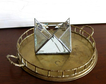 Vintage Triangles Leaded Glass Candleholder or Catchall