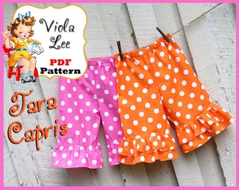 Tara... Girl's Ruffled Capris & Ruffled Shorts Sewing Pattern, Ruffled Pants Pattern. Toddler Shorts Pattern. pdf Sewing Pattern