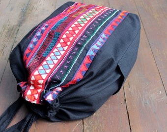Large Tribal Backpack Natural Cotton Primitive Akha Embroidery and Applique Great Mens Gift