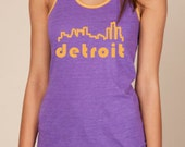 Detroit Skyline Purple Organic Cotton Tank - XL
