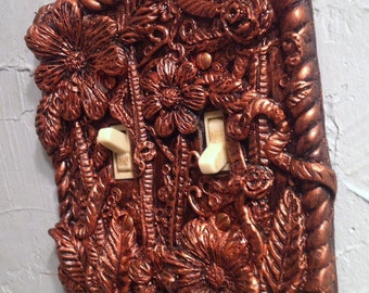 Beautifully Detailed Handmade Resin Floral Style Custom  Double Switch Cover