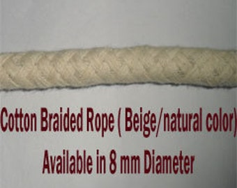 8 mm Cotton Rope -  2 Yards Natural and Elegant COTTON BRAIDED CORD for craft