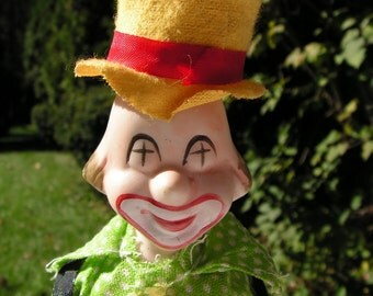 VERY COOL looking CLOWN Doll - Ceramic face hands feet