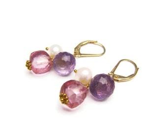 pink topaz earring topaz earrings pink purple amethyst pearl earrings dangle gemstone valentines bridal bride bridesmaid gift idea for her