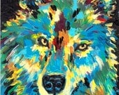 Wolf,  Fine Art Giclee Print - enhanced with Acrylic  Paint  on Canvas Sheet from my original Painting - ebsq Artist Ricky Martin