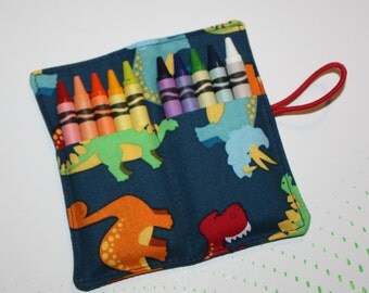 Crayon Roll Dinosaurs Crayon Rollup, holds up to 10 Crayons Crayon Roll Party Favors