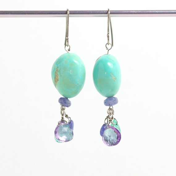 Natural Turquoise Earrings with Amethyst Tanzanite and Apatite Briolettes & Drops