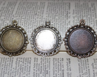 6 Bridal Bouquet Charms ONLY - Round Decorative Blank Pendant Frames - 35 mm (inside 20 mm) Lead and Nickel Free