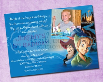 Peter Pan and Captain Hook Picture Birthday Invitation