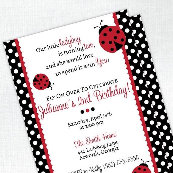 Ladybug Birthday Invitation 2nd Birthday By Tickledpeachstudio