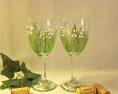 Lily of the Valley hand painted wine glasses set of two