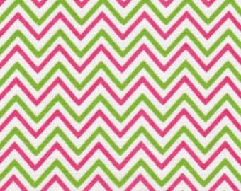 Chevron Fabric:  Lime and Raspberry Chevron from Fabric Finders 1471