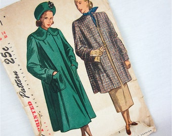 Vintage 50s Coat Sewing Pattern, Simplicity, 2331