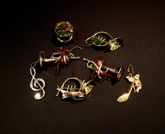Christmas Ornaments Plastic Musical Instruments Trumpet Drume