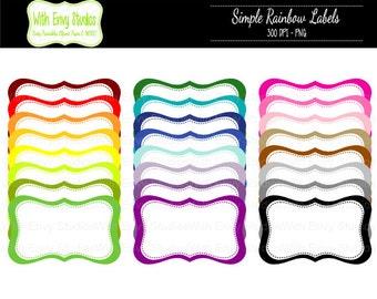 SALE  Rainbow Journal Clipart - Rainbow Label Clipart - Tag Clipart - Journal Clip Art,