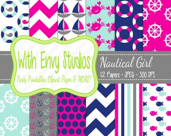 50% OFF Nautical Digital Scrapbook Paper Pack - Sailing Digital Paper Pack - Pink and Blue