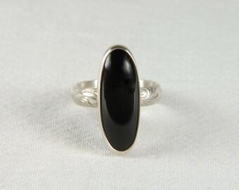 Long Oval Ring Artisan Ring Handmade Silver Ring Black Ring Statement Ring Gemstone Ring Artisan Jewelry