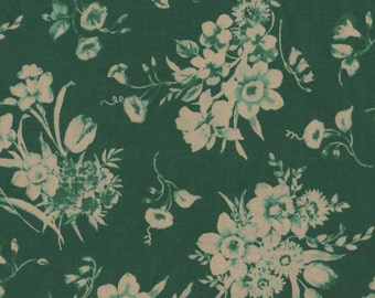 Green Fabric, Green and Cream Fabric, Floral Fabric, Garden Fabric, 1 yard Fabric