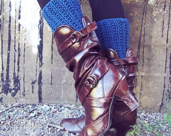 Boot Cuff Knit Crochet Blue Boot Socks Boot Toppers Leg Warmers Leggings Crochet Womens