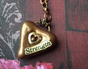 Steampunk Strength - Bronze  Heart Pendant Necklace - Embedded Vintage Heart Charm