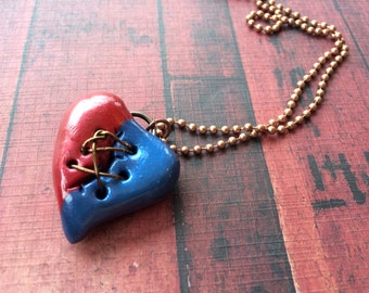 Red and Blue Metallic Steampunk Broken and Mended Heart Pendant