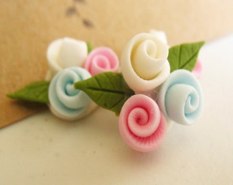 Set of 3 flowers with 3 Flower Handmade Clay flowers -Blue, white and pink Flower-
