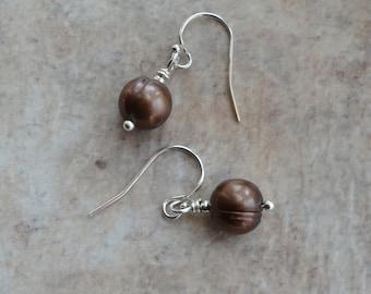Chocolate Brown Bronze Freshwater Cultured Pearl Silver Drop Earrings